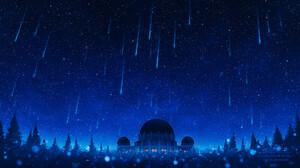 Elizabeth Miloecute Digital Art Starry Night Comet Shooting Stars Trees Planetarium 1896x1138 wallpaper