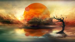 Nature Sun Digital Art Sky Water Trees 2560x1600 Wallpaper