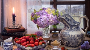 Candle Flower Hydrangea Midsummer 039 S Day Still Life Strawberry 5184x3456 Wallpaper
