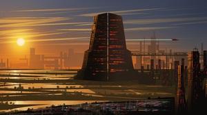 Artwork Digital Art Landscape Sunset Sky Science Fiction Futuristic Skyscraper City Tower Spaceship  9000x4500 Wallpaper
