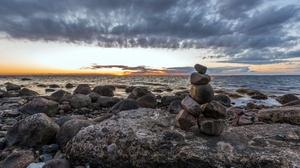Horizon Nature Ocean Stone Sunset 3840x2160 Wallpaper