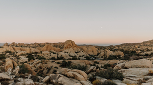 Landscape Nature Desert Rocks Grass Plantes Sky Moon 3600x2400 Wallpaper