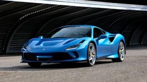 Blue Car Car Ferrari Ferrari F8 Tributo Sport Car Supercar Vehicle 8687x5309 wallpaper