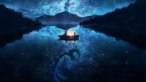 Night Anime Boat Stars Sky Clouds Universe 3840x2160 Wallpaper