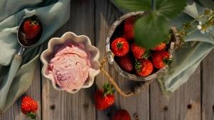 Berry Dessert Fruit Ice Cream Still Life Strawberry 6000x4000 Wallpaper