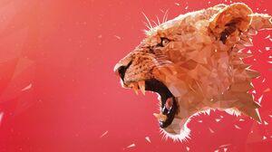 Roar Abstract Animals Mammals Digital Art Big Cats Simple Background Red Background Lion 3840x2160 Wallpaper