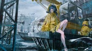 Anime Anime Girls Rolua Noa Artwork Rain Raincoat Umbrella 3840x1634 Wallpaper