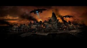 Raiden V Shoot Em Up City Spaceship Destruction Fire Evening Evening Glow Ports Sea Invasion Video G 1920x1080 Wallpaper