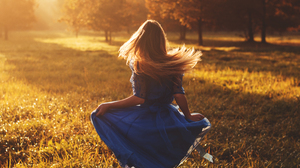 Women Blue Dress Blonde Hair Blowing In The Wind Hair Fall Sunlight Warm Warm Light Photography Mode 5516x3677 Wallpaper