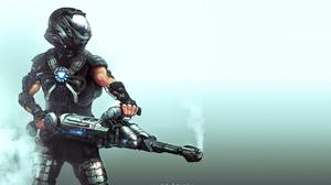 Futuristic Soldier Warrior Weapon 3840x2288 wallpaper