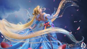 ZJQ ArtStation Anime Anime Girls Sailor Moon Women Blonde Blue Dress Long Hair Blue Clothes Blue Clo 1920x1079 wallpaper