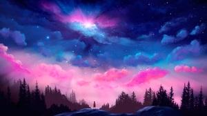 Artwork Digital Art Sky Forest Space Stars Clouds Blue Colorful Landscape Lights Nature Trees Childr 5000x2812 Wallpaper