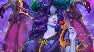 Girl Elf Horns Lollipop Night Elf Purple Hair Green Eyes 1920x1280 Wallpaper