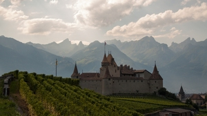 Aigle Castle Alps Castle Mountain Switzerland Vineyard 2048x1280 Wallpaper