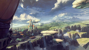 Philipp A Ulrich Digital Art Landscape Airships Clouds Fantasy City 3000x1500 Wallpaper