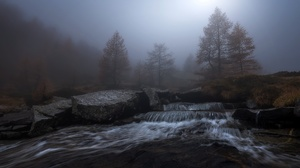 Fog River Moon 2047x1268 wallpaper