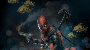 Deadpool Fish Gun Marvel Comics Raven 3300x2155 Wallpaper
