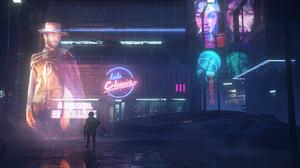 Artwork Digital Art Futuristic Cyberpunk The Good The Bad And The Ugly Clint Eastwood Hologram 1600x964 Wallpaper