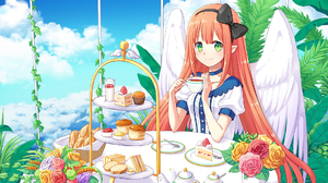 Cake Cloud Cup Cupcake Flower Green Eyes Pink Hair Wings Bow Clothing 1920x1358 Wallpaper