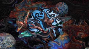 Abstract Fluid Liquid Artwork Shapes Colorful Space Universe Circle Planet ArtStation XEBELiON 3840x2160 Wallpaper