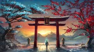 Torii Landscape Trees Sunset Fantasy Art ArtStation 1920x1080 wallpaper