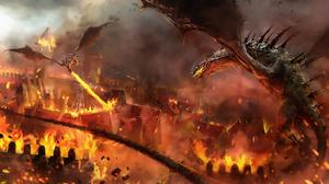 Destruction Dragon Dragon Attack Fire Rampage Wyvern 2400x1138 Wallpaper