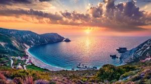 Landscape Beach Sea Sky Sunset Colorful Island Coast Nature Water Greece Summer Sun Clouds Mountains 8000x5409 Wallpaper