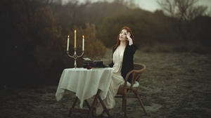 Women Model Outdoors Women Outdoors Sitting Typewriters Table Candles Makeup Closed Eyes White Dress 2048x1152 Wallpaper