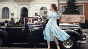 Women Men Urban Outdoors Women Outdoors Women With Cars Car Black Cars Vehicle Dress Blue Dress Glov 2500x1666 Wallpaper