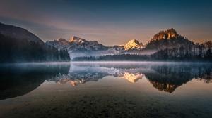 Austria Dawn Lake Mountain Nature Reflection Sky 2048x1152 Wallpaper