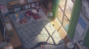 Anime Girls Women Cats Room Interior In Bed Digital Art Mirror Calendar Suitcase Book In Hand Plush  3508x2480 Wallpaper