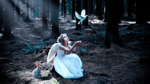 Angel Bird Child Forest Girl Rabbit Sunbeam White Dress 2048x1365 wallpaper