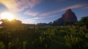 Meadow Minecraft Sun Sunset 1920x1016 Wallpaper