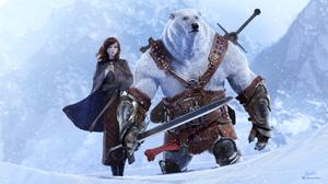 Polar Bear Girl Woman Sword Snow Blue Eyes 3840x2160 Wallpaper