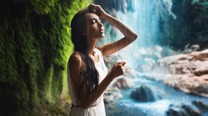 Model Women Brunette Closed Eyes Bare Shoulders Dress White Dress Wet Wet Hair Waterfall River Rocks 2000x1251 Wallpaper