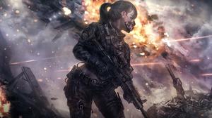 Explosion Girl Gun Ponytail 5008x3000 Wallpaper