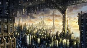 Building City Cityscape Cloud Futuristic Sky 3484x1970 Wallpaper