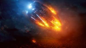 Fire Spaceship 3840x2082 wallpaper