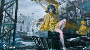 Anime Anime Girls Water Umbrella Original Characters Rolua Noa Raincoat Rain 4699x2000 Wallpaper