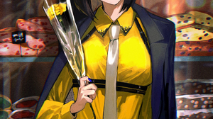 Uma Musume Pretty Derby Yellow T Shirt Smile Bouquet Yellow Roses Makeup Short Hair Hair Ribbon Neck 1200x1800 wallpaper