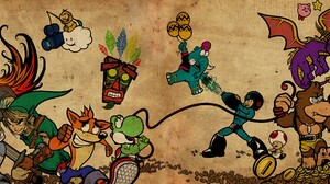 Pokemon Trainers Video Games The Legend Of Zelda Link Yoshi Kirby Spyro Super Meat Boy Crash Bandico 3840x1080 Wallpaper