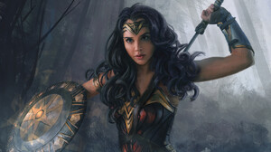 Gal Gadot Artistic Shield Woman Warrior Black Hair 3000x2121 Wallpaper