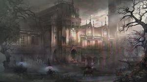 Creepy Dark Fog House Mansion Tree 1945x1080 Wallpaper