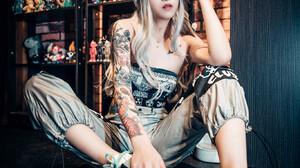 Asian Women Model Women Indoors Looking At Viewer Sitting Makeup Inked Girls Nose Ring Nose Rings Dy 1366x2048 Wallpaper