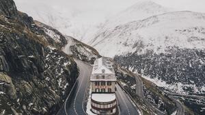 Switzerland Hotel Road Mountains Snow Swiss Alps 3992x2992 wallpaper