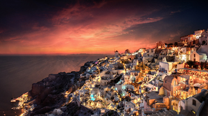 Greece House Building Architecture Sunset Water Clouds Sky Night Lights HDR Cityscape Outdoors Photo 2048x1224 Wallpaper