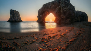 Andrey Grachev Landscape Beach Arch Stone Rocks Sunset Sun Clear Sky Red Sky Horizon Algae Shore Wat 1700x1155 Wallpaper