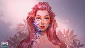 Karmen Loh Digital Art Illustration Suicide Sheep Petals Blue Eyes Redhead Freckles Clavicles 1508x868 wallpaper