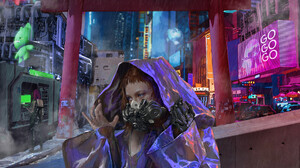 Portrait Display Brunette Rain Futuristic City Women Digital Art Digital Painting Futuristic Mask Fa 1920x2715 Wallpaper