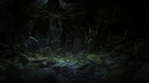 Artem Demura Dark Digital Art Fantasy Art Graveyards Tombstones Statue Sword Trees Skull 1920x982 Wallpaper